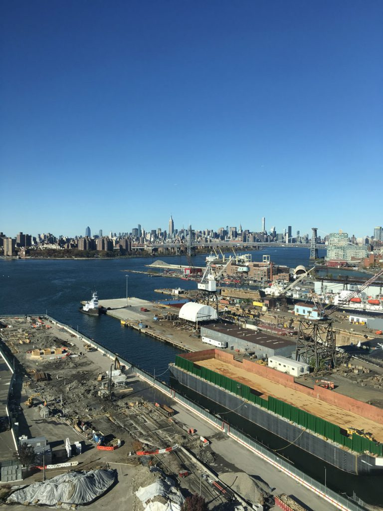 Hudson River & Manhattan from the terrace of the 1776 Building at Brooklyn Navy Yard